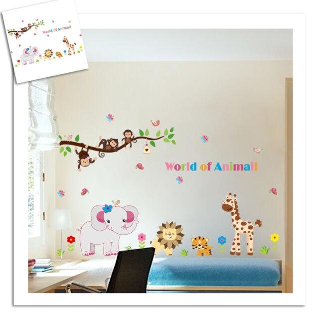 Jungle Safari Animals Removable Baby Kids Wall Sticker Vinyl Decal Nursery Decor