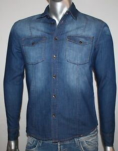 big sale 2ae81 0c4db Dettagli su Camicia Jeans Uomo Vintage BROTHER-F DENIM Slim Manica Lunga S  M L XL XXL
