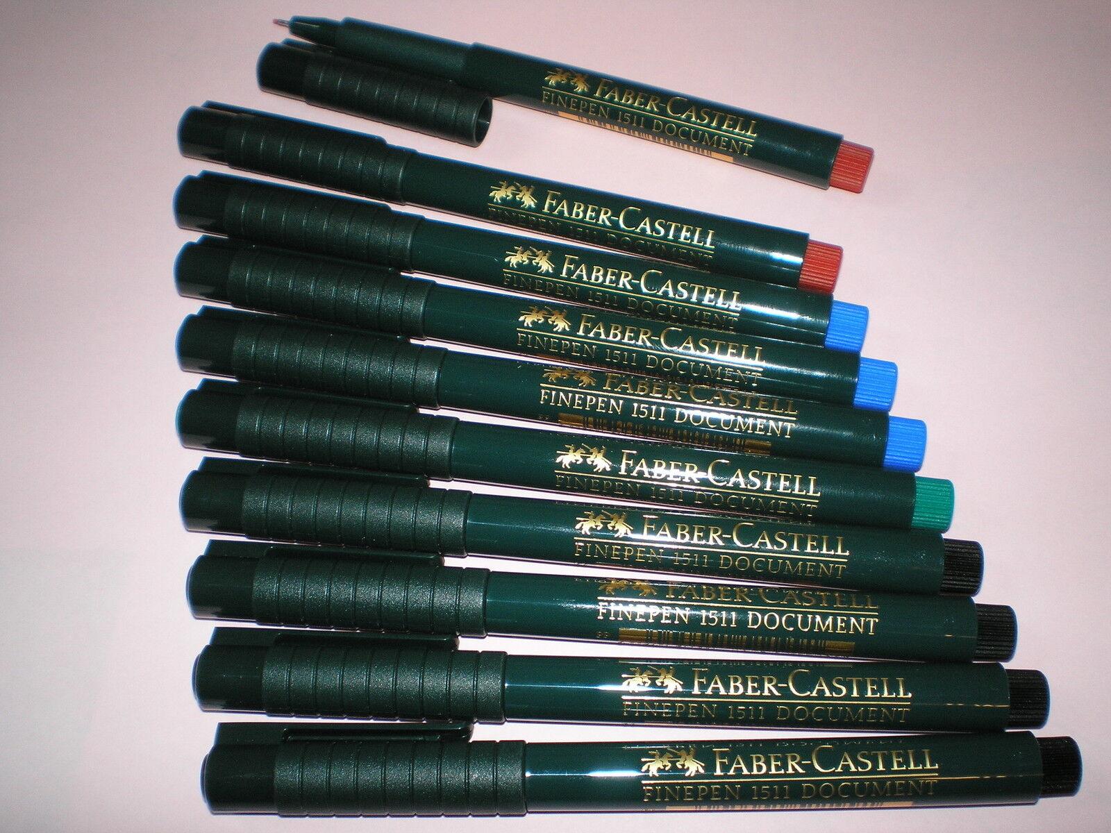 10x Faber-Castell Finepen 1511 farb sort 0,4mm Tinte dokumentenecht 151111 NEU