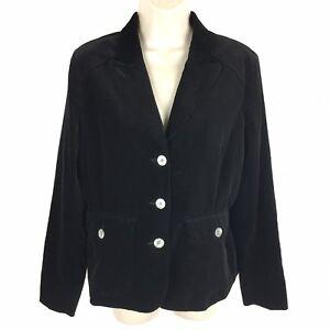Eddie-Bauer-Velvet-Blazer-Size-12p-12-Petite-Women-039-s-Black-Jacket-Cotton