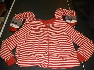 61578136cb24 Nick   Nora Ladies Plush Sock Monkey Red White Striped One Piece ...