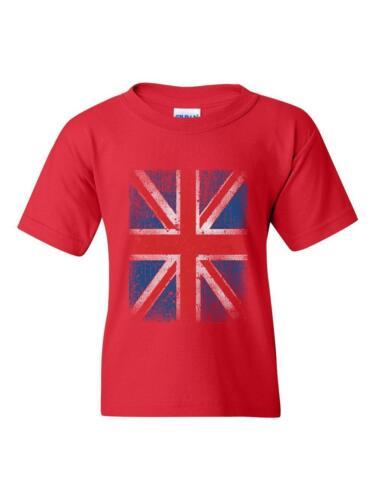 British T-Shirt Union Jack Disstressed British Flag  Unisex Youth Shirts