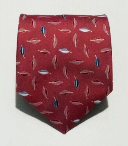 Designerkrawatte rot blau Motiv Blätter   P9058 Krawatte VKF NEU