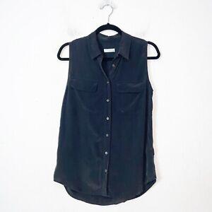 Equipment-Black-Slim-Sleeveless-Button-Up-Silk-Top-Womens-Size-M
