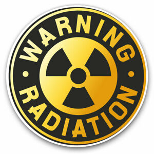 2-x-Vinyl-Stickers-7-5cm-Warning-Radiation-Sign-Nuclear-Cool-Gift-7151