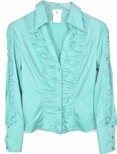 Escada-Blouse-Top-Size-36-US-6-Long-Sleeve-Button-Up-Teal-Pleated-Ruffle-Pleated