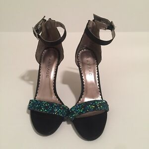 RAMPAGE-Forzmin-Black-Satin-Strappy-Blue-Green-Sequin-Open-Toe-Dress-Shoe-7M
