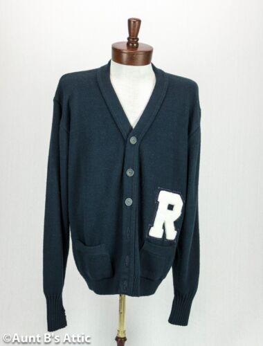 Varsity Letterman Sweater Men's Navy Acrylic Cardi