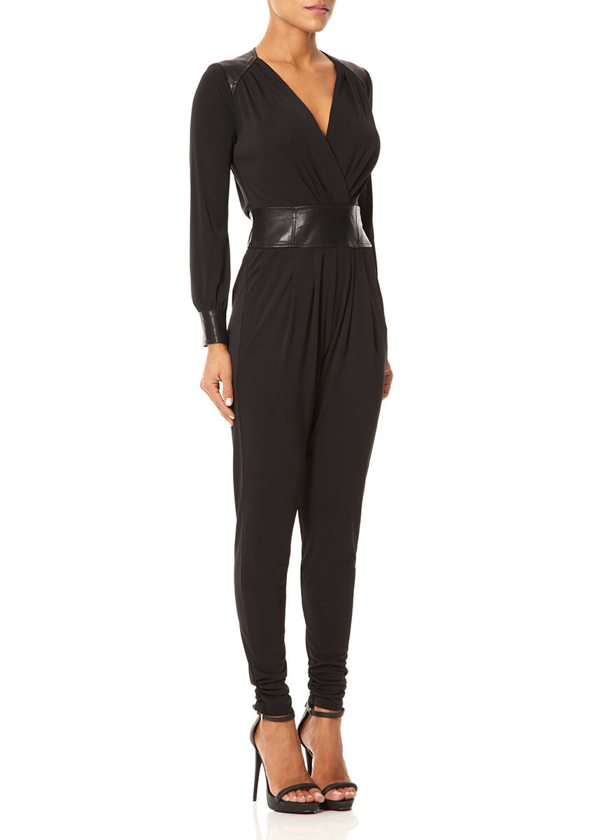 £180 Forever Unique Siera Black Silky Jersey Drape The Dolls House Jumpsuit 8 10