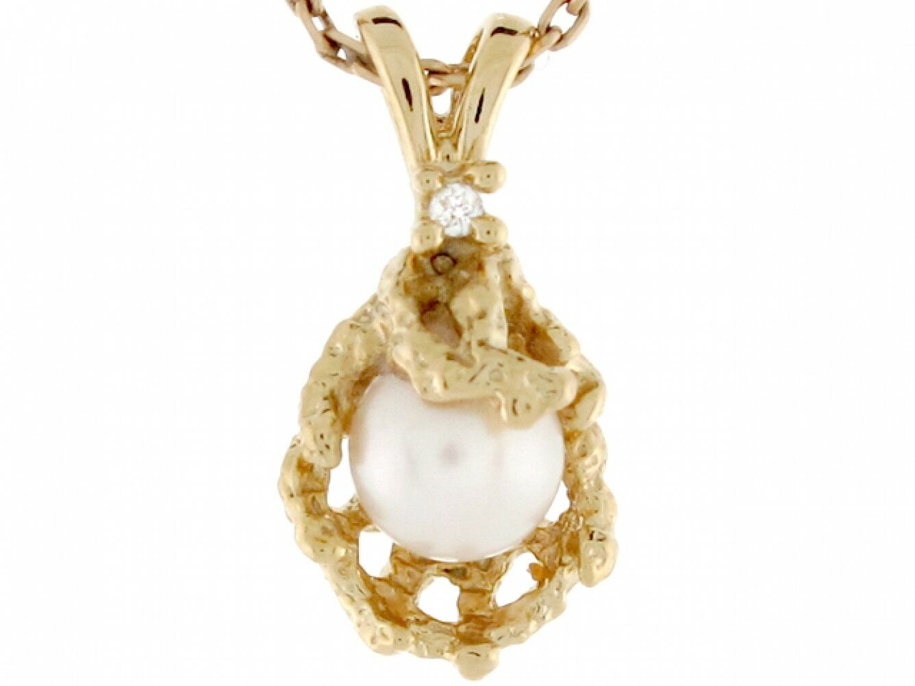 14k Yellow gold Cultured Pearl Diamond Accent Coral Reef Design Ladies Pendant