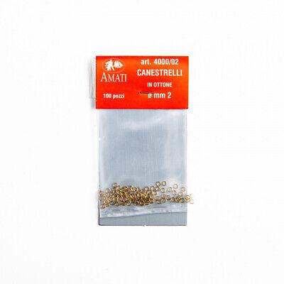 4000//02 AMATI CANESTRELLI IN OTTONE DIAM 2 MM BUSTINE DA 100 PEZZI ART
