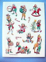 Vintage 1982 Hallmark Christmas Elves 1 Sticker Sheet Adorable