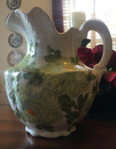 """Vintage 1945 Cash Family Hand Painted Pottery Large Pitcher with Flowers 10"""" H"""