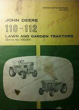 John Deere 110 & 112 #100,001- Lawn Garden Tractor Owner & Parts (2 Manuals) 88p