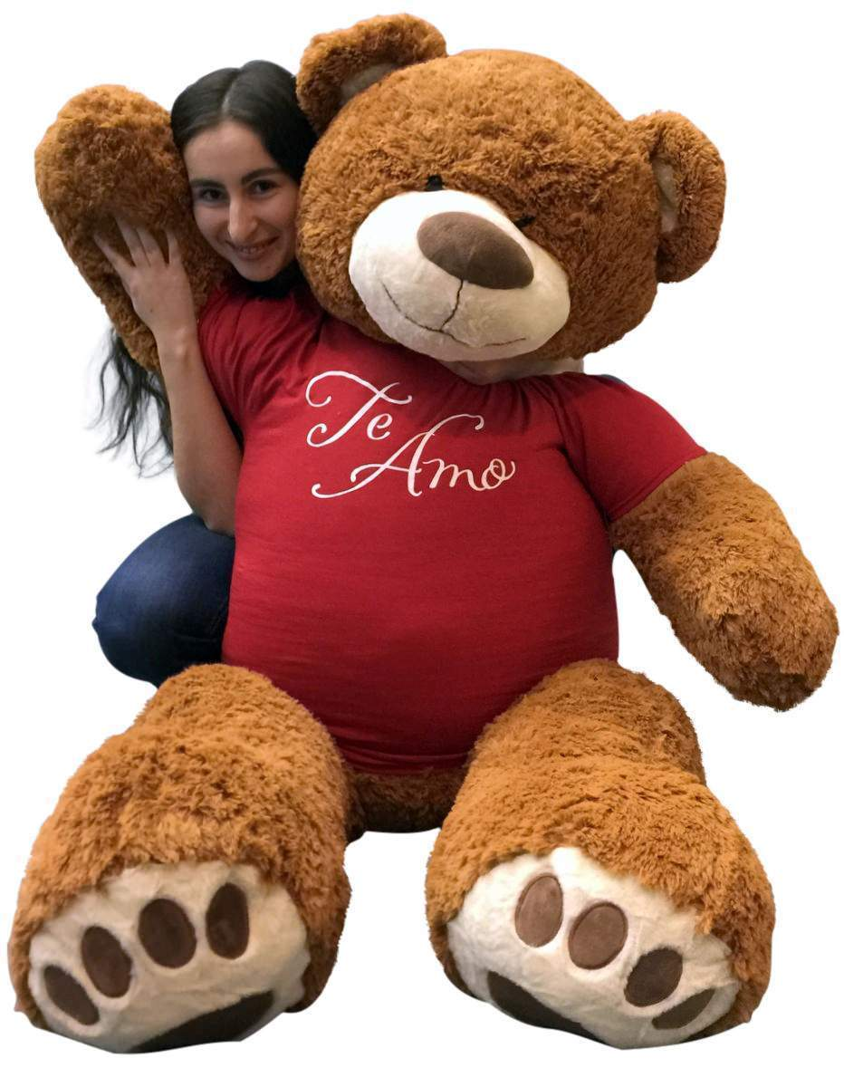 1.5m Riese Teddybär 152cm Zimt Braun Farbe Trägt Te Amo T-Shirt Neu  | Mama kaufte ein bequemes, Baby ist glücklich
