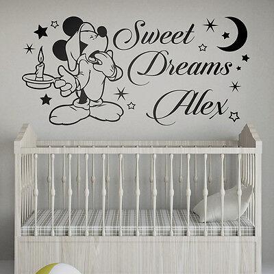 Mickey Mouse Sweet Dreams Personalized Nursery Vinyl Wall Decal Bedroom Sticker Ebay