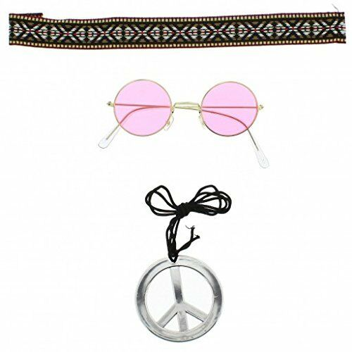 Hippy Fancy Dress Set Round 1960/'s  Designs Fun Peace Necklace Pink Glasses