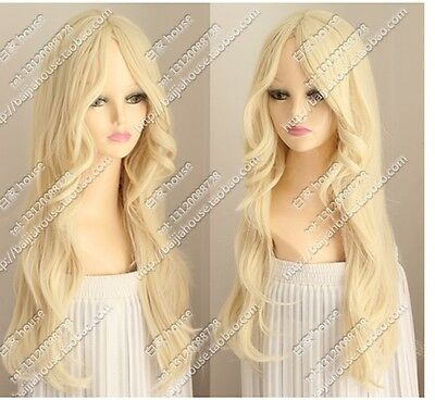 Cos light blonde  long curly  cosplay full wig +gift