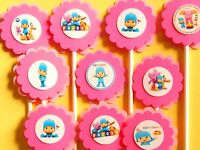 30 Pocoyo Cupcake Toppers Birthday Party Favors, Baby Shower Decoration 30