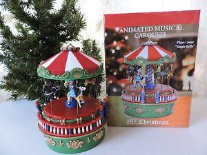 Mr Christmas Carousel.Details About Mr Christmas 2016 Mini Carnival Animated Music Box Carousel Jingle Bells Nib