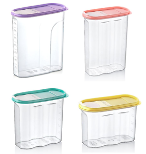 Image Is Loading Colour Plastic Cereal Container Box Storage Slim Kitchen
