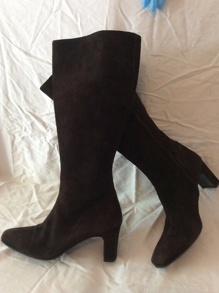 Russell&Bromley Dark marron Mid Calf Suede bottes Taille 39