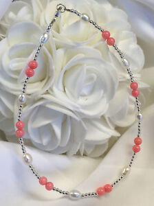 Genuine-Pink-Coral-Pearl-Sterling-Silver-Ankle-Bracelet-2905-Plus-Sizes