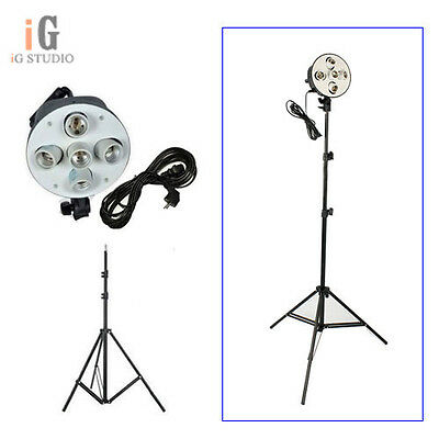 Photo Studio kit 5in1 E27 socket  lamp holder head 5 switch + 220cm light stand