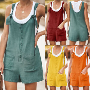 UK-Womens-Summer-Linen-Cotton-Jumpsuit-Dungarees-Pocket-Shorts-Playsuit-Overalls