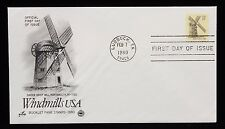 1980 FDC Smock Grist Mill Windmill Canceled in Lubbock TX 15c Stamp #1741