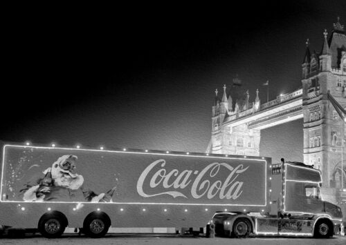 Coca Cola Christmas Xmas Large Poster Art Print Black /& White Canvas or Card