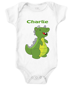 Personalised Funny Dinosaur Short Sleeve Baby Grow BodySuit Vest T Rex Nice Gift