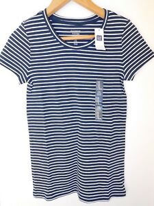 NWT-GAP-Women-039-s-Favorite-Crew-Neck-T-Shirt-Navy-Blue-Striped-XS-Free-Ship-New