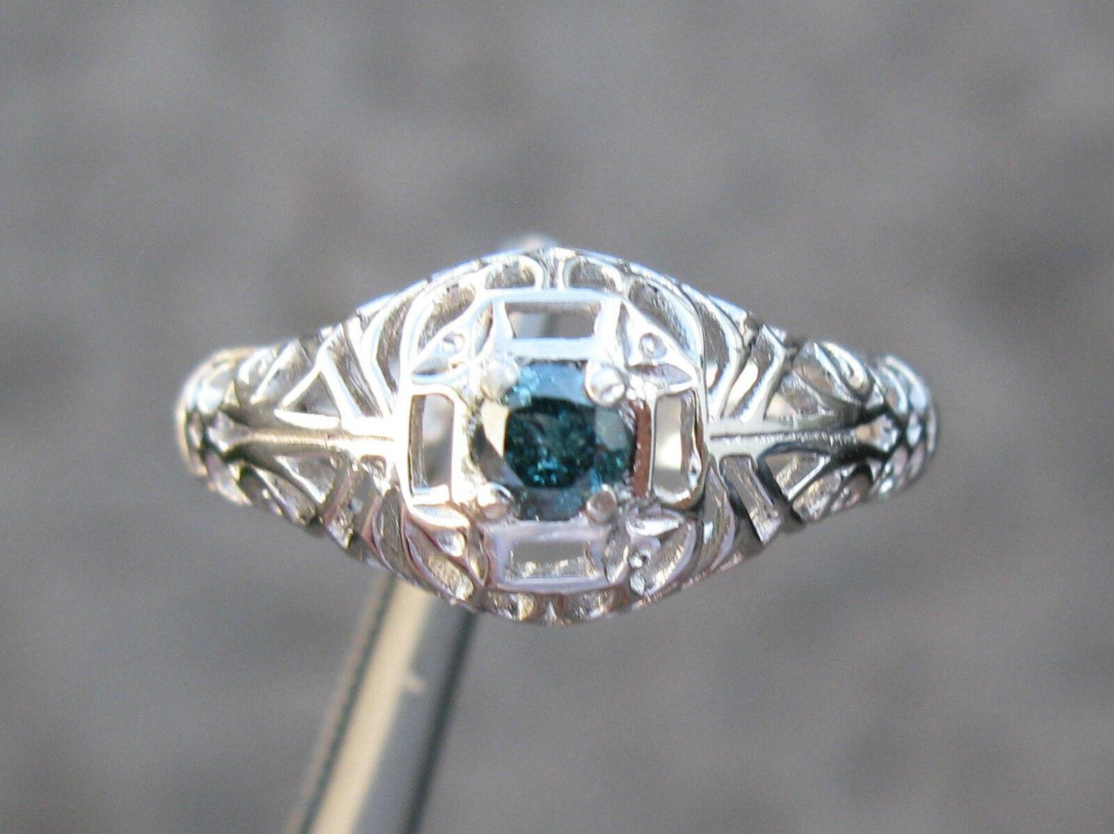 .20ct NATURAL blueeeE DIAMOND RING w  HAND CARVED FILIGREE ART DECO DETAILS Sz 6.75