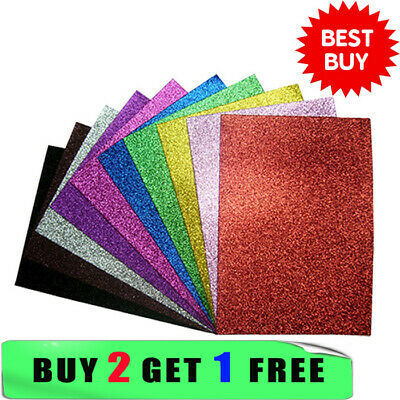 A4 Glitter Card Coloured Cardstock Premium Quality Low Non Shed 220gsm Crafts