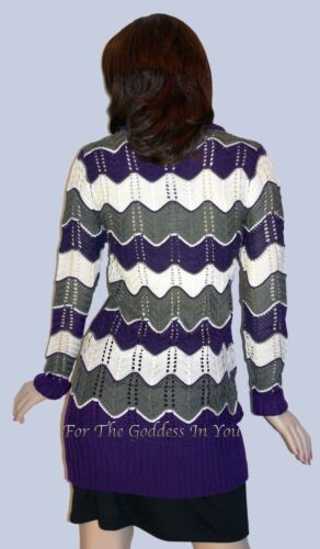 S4 PURPLE IVORY /& CHARCOAL ZIG ZAG CHEVRON SWEATER TUNIC WOMENS SIZE M  L