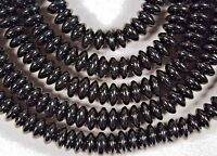 Classic Glossy Black Onyx 3x8mm Rondelle Spacer Beads 15 Strand