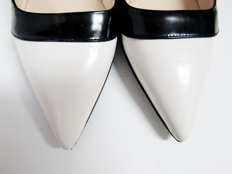 Prada Blanco Borde Borde Borde Negro dos tonos en Punta Bailarina Zapatos sin Taco 36.5 6.5 Italia a8d709