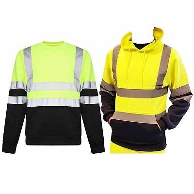 Mens 2 Tone Hi Viz Visibility Hoody High VIS Reflective Workwear Pullover Hoodie