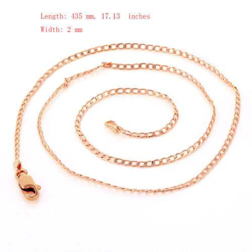 Fashion Womens Rose Gold Filled 2mm Wide Curb Cuban Chain Necklace 17.1in