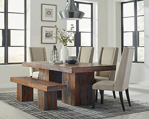 Details About Rustic 7 Pc Solid Wood Dining Table And Velvet Chairs Room Furniture Set