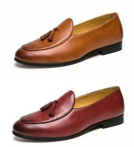 Stylish-Mens-Pointy-Toe-Slip-On-Loafers-Casual-Outdoor-Tassel-Shoes-Dress-Size