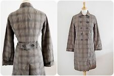 Plaid brown OVER COAT mac vintage factory girl style UTILITY stage costume 14 38