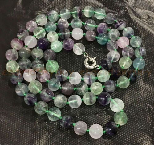 """Natural 8//10mm Multicolor Fluorite Round Gems Beads Jewelry Necklace 36/"""" Inches"""