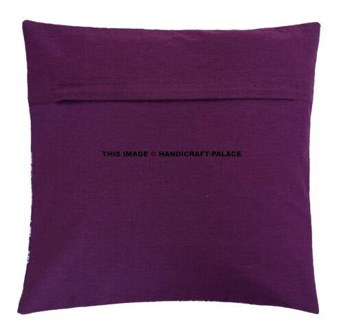Indian Bengali Cotton Purple Ikat Kantha Cushion Cover Covers Handmade 40x40 cms