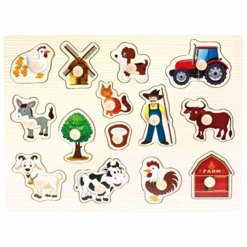 Steckpuzzle Bauernhof von Bino Holz Puzzle Geschicklichkeitsspiel Motorikspiel