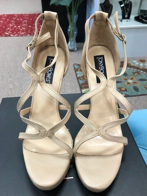 Tony Bowls Cassie Taupe Beige Sandal Pageant Gala shoes NIB SZ 10