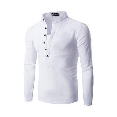 Informal Ajustado Manga Larga Hombre Básico Camiseta De Algodón Polo Suéter