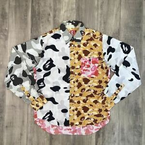 A-BATHING-APE-BAPE-Crazy-Camo-Long-Sleeve-Shirt-Size-M-Rare-from-Japan