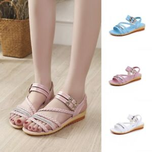 Summer Women Open Toe Slingback Sandals Ankle Strap Casual Flats Shoes Eur 35-39